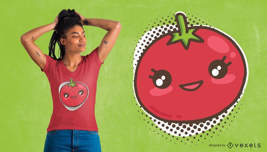 Diseño de camiseta de tomate kawaii.