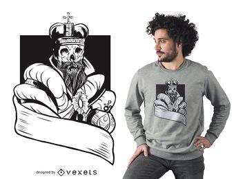 Diseño de camiseta de rey esqueleto