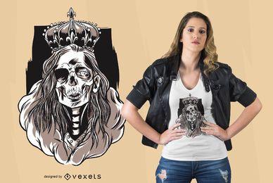 Diseño de camiseta esqueleto reina