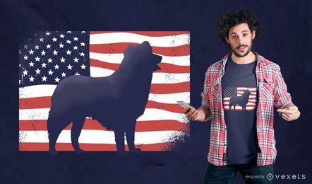 Diseño de camiseta de perro americano
