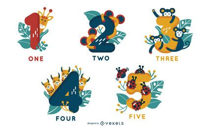 Animal Alphabet Number Designs 1-5