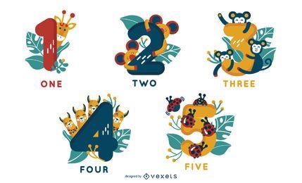 Desenhos de números do alfabeto animal de 1 a 5