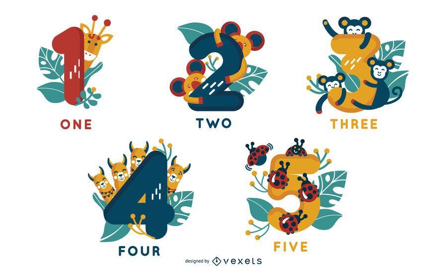 Animal Alphabet Number Designs 1-5