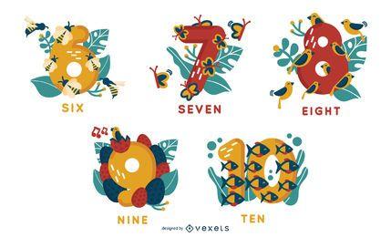 Alfabeto de animales números 6 a 10 conjunto de vectores