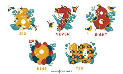 Animal Alphabet Numbers 6 to 10 Vector Set