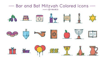 Pack de iconos de colores Bar y Bat Mitzvah