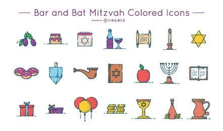 Pacote de ícones coloridos Bar e Bat Mitzvah