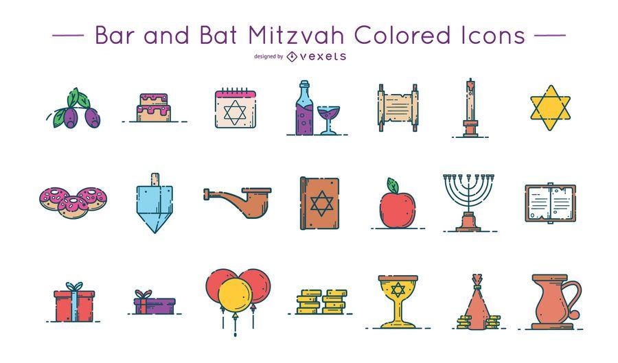 Paquete de iconos de colores de Bar y Bat Mitzvah