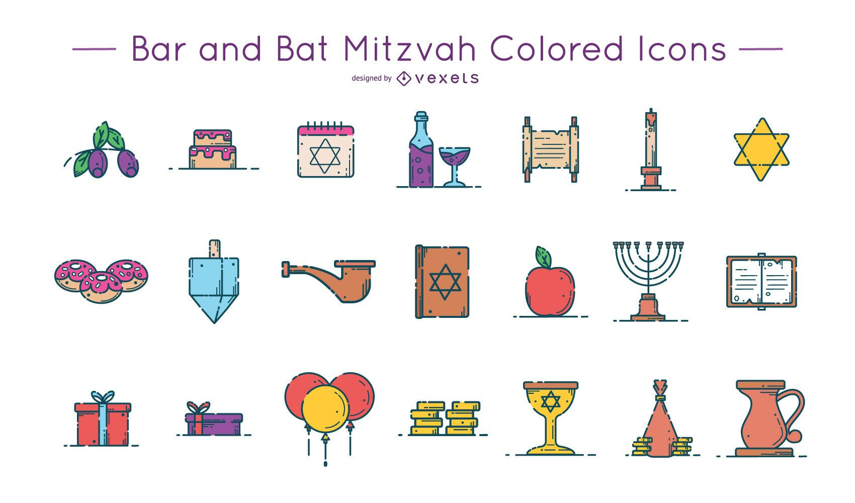 Bar and Bat Mitzvah Colored Icons Pack