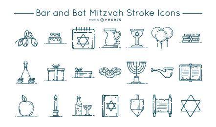 Conjunto de ícones de traçado de barra e morcego Mitzvah
