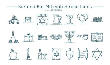 Conjunto de iconos de trazo de Bar y Bat Mitzvah