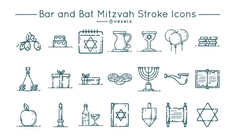Conjunto de iconos de trazo Bar y Bat Mitzvah