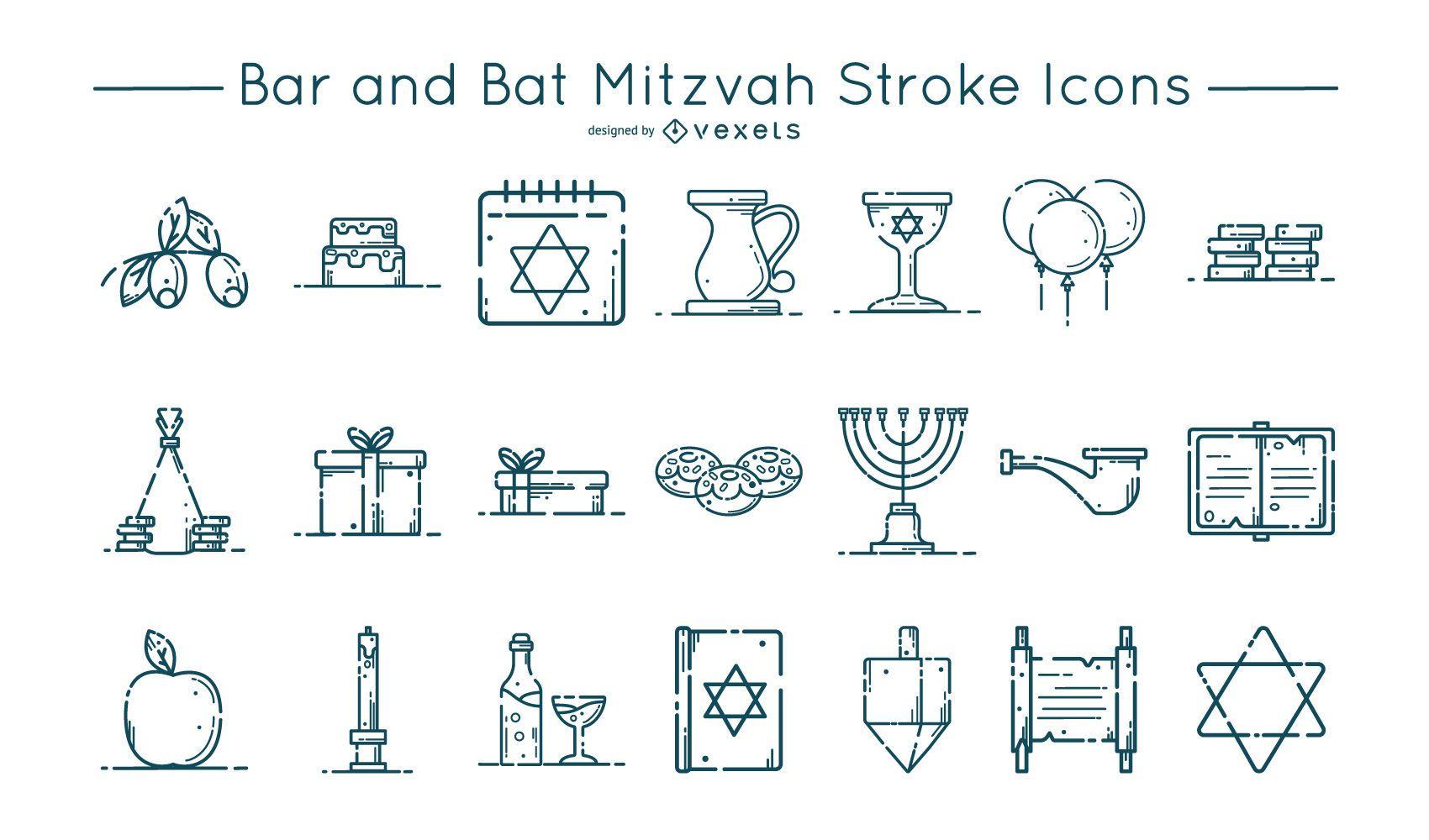 Bar and Bat Mitzvah Stroke Icon Set