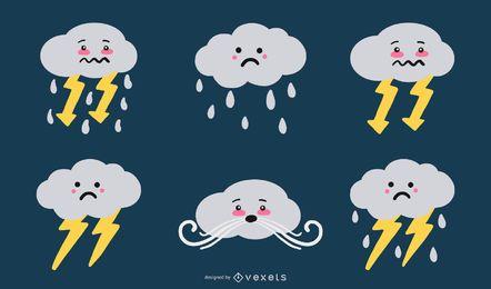 Conjunto de vetores de ilustração de nuvem fofa