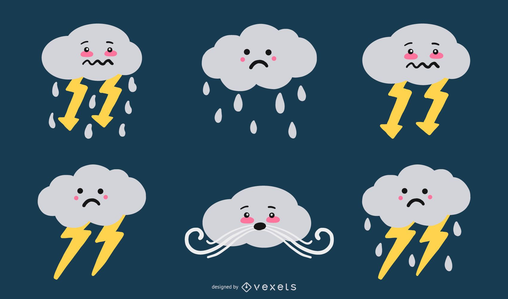 Cute Cloud Illustration Vector Set