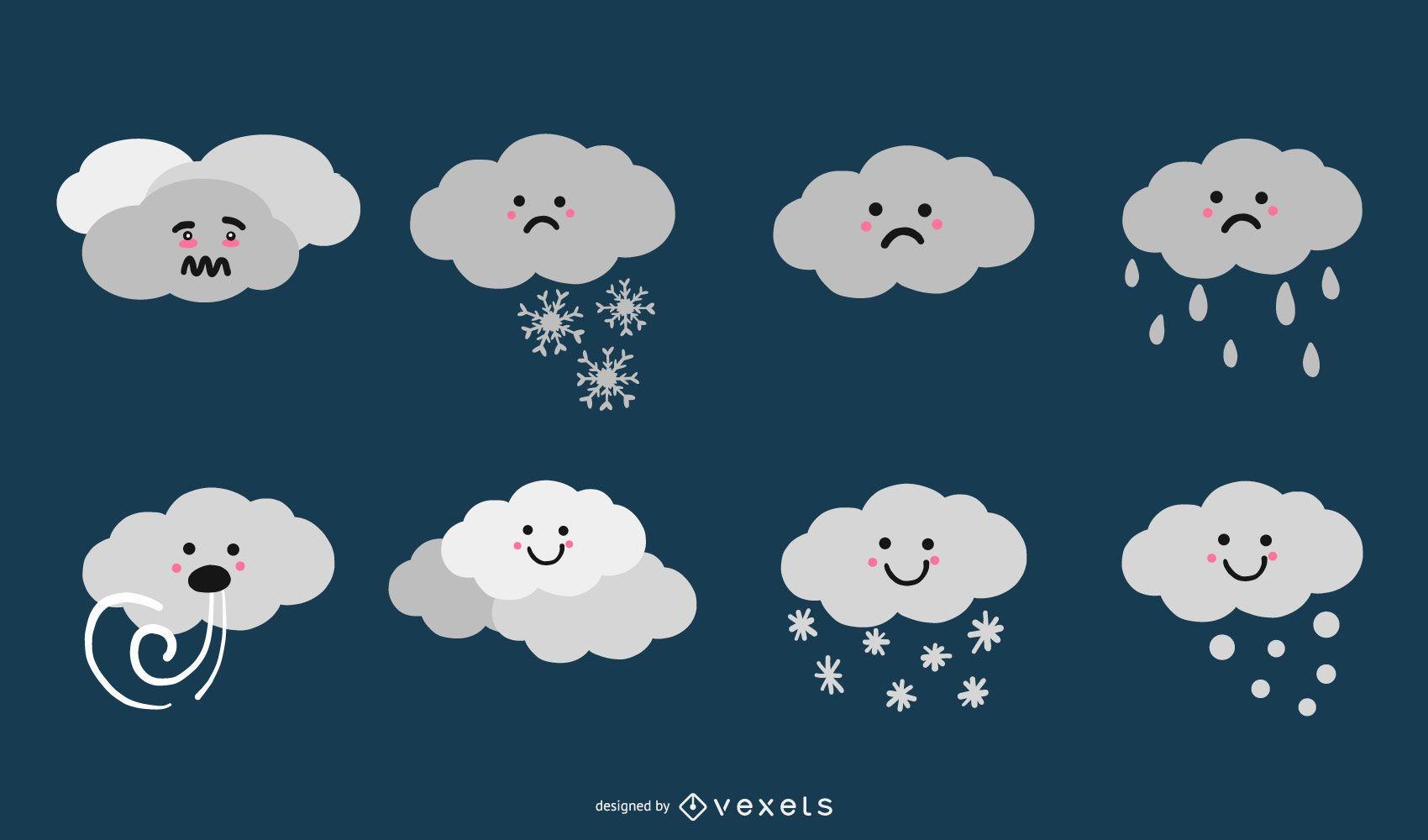 Colección linda del vector de la nube