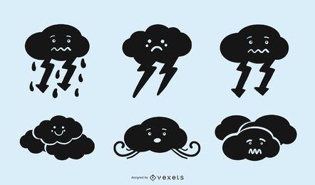 Conjunto de ícones de silhueta bonito nuvem