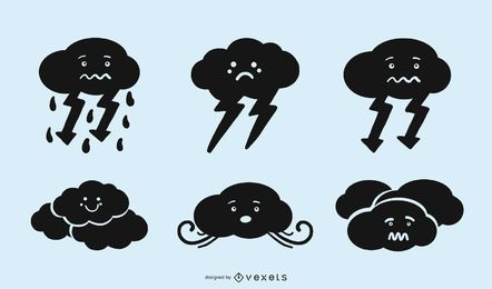 Cute Cloud Silhouette Icon Set