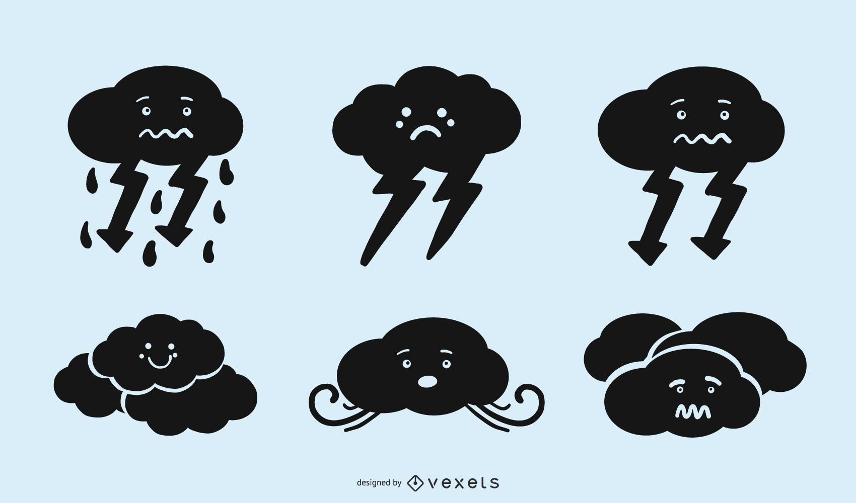Cute Cloud Silhouette Icon Set