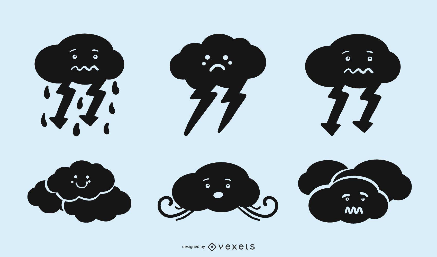 Lindo conjunto de iconos de silueta de nube