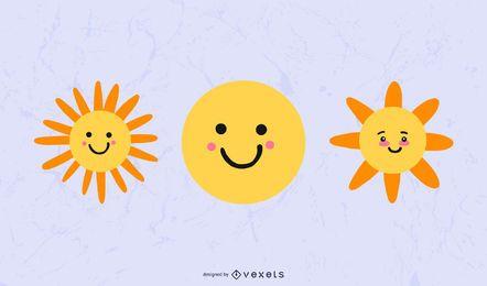 Conjunto de ícones do sol fofo