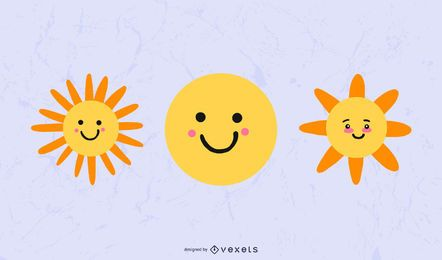 Cute Sun Weather Icon Set