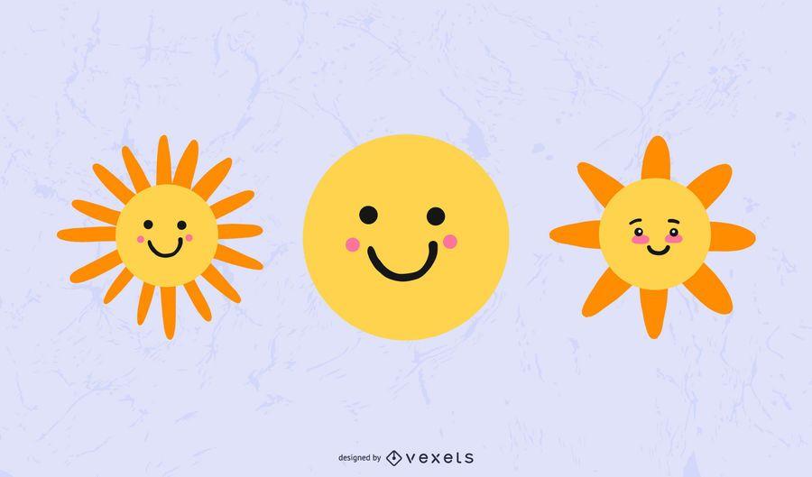 Cute Sun Weather Icon Set
