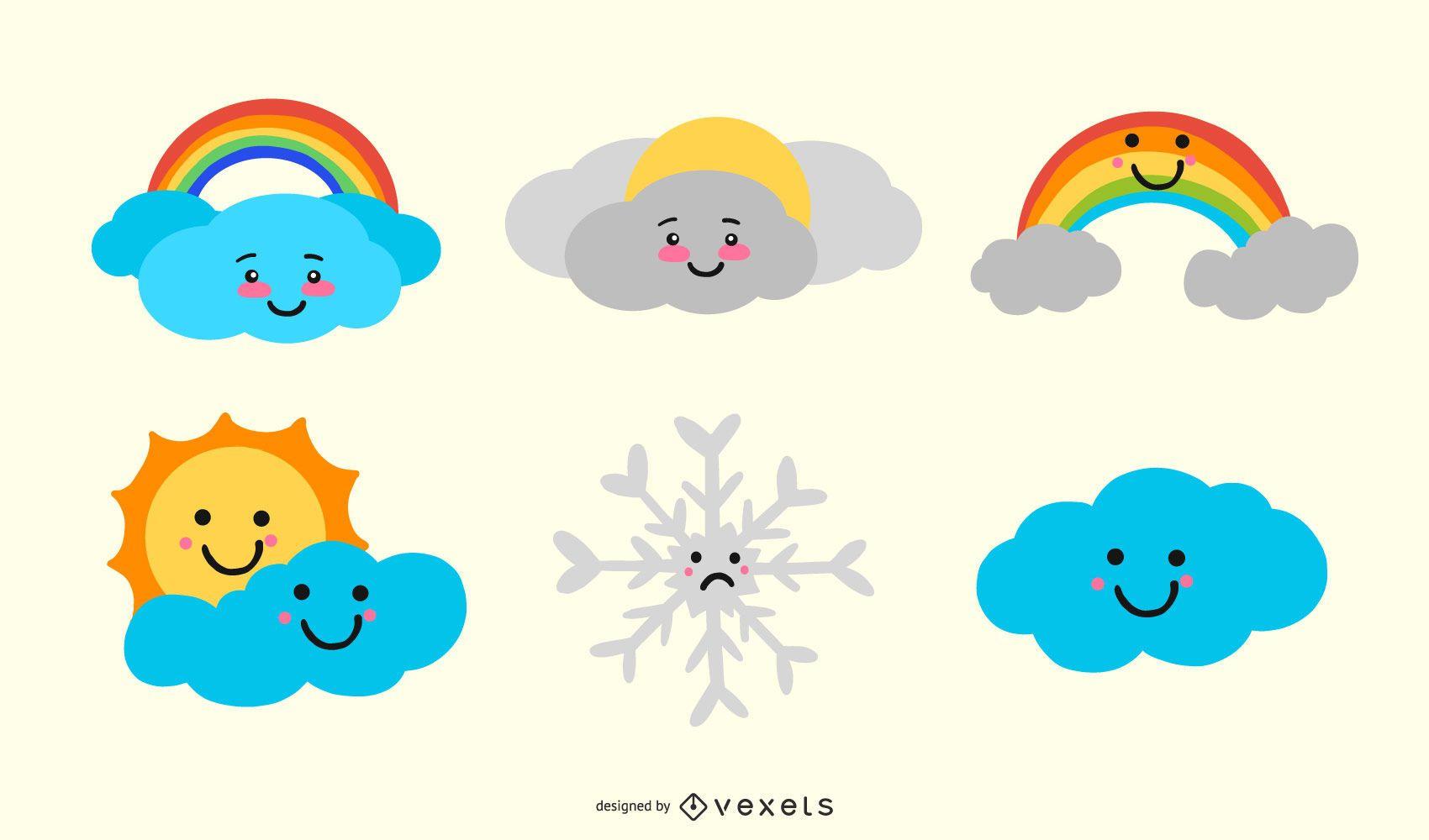 Lindo conjunto de iconos de clima