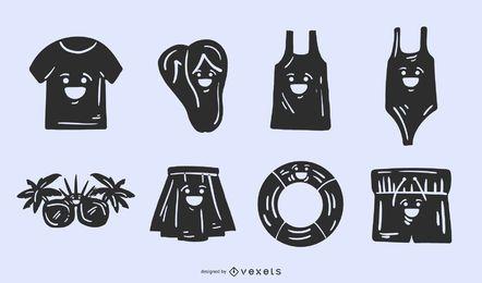 Conjunto de silhueta bonito de roupas de verão
