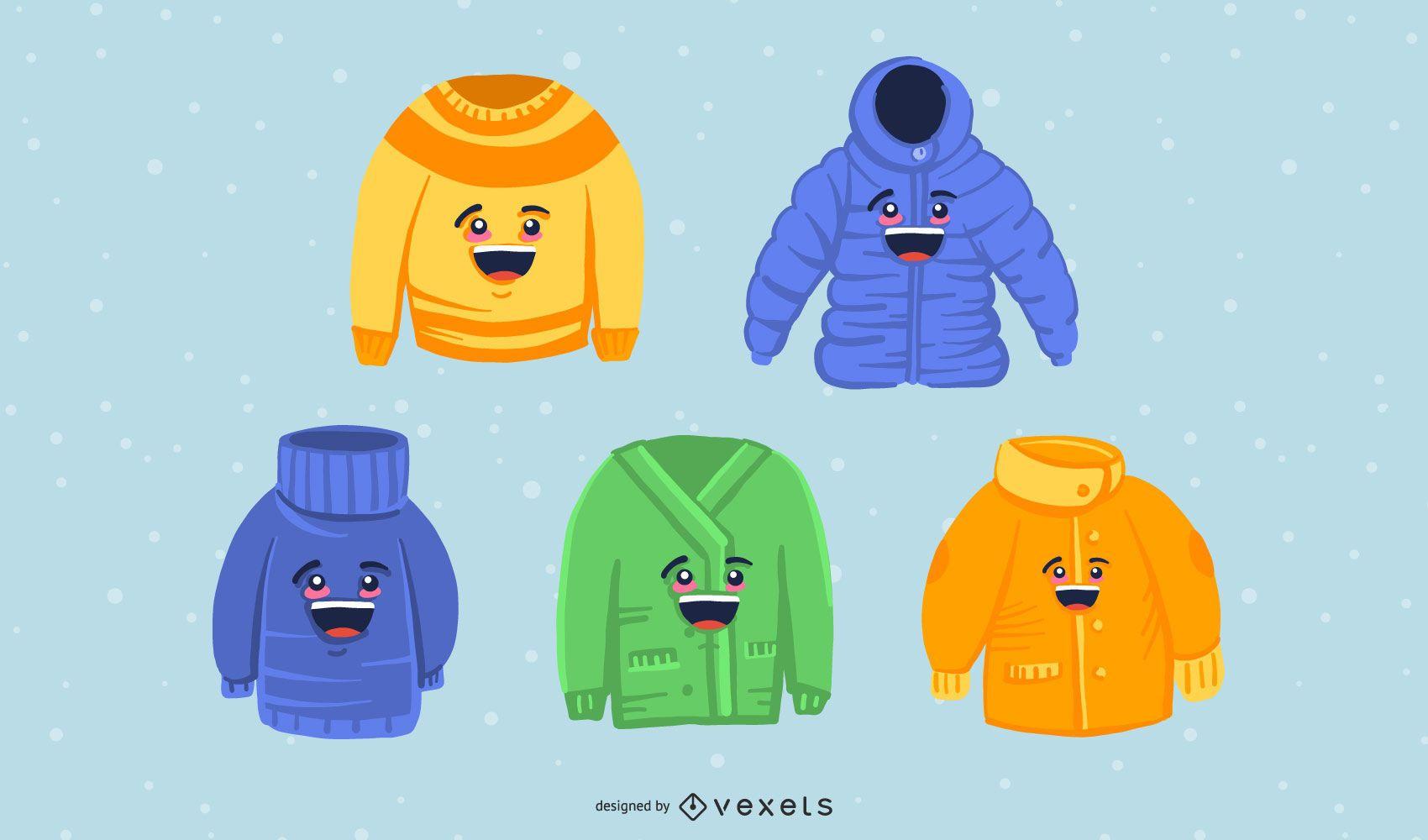Paquete de vectores de ropa de invierno