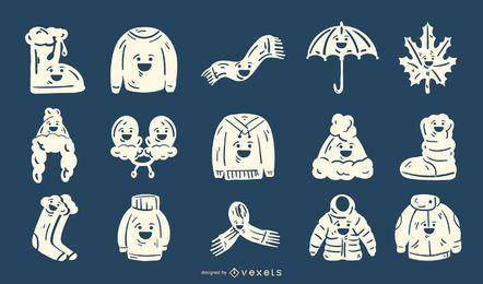 Conjunto de silhueta bonito de roupas de inverno