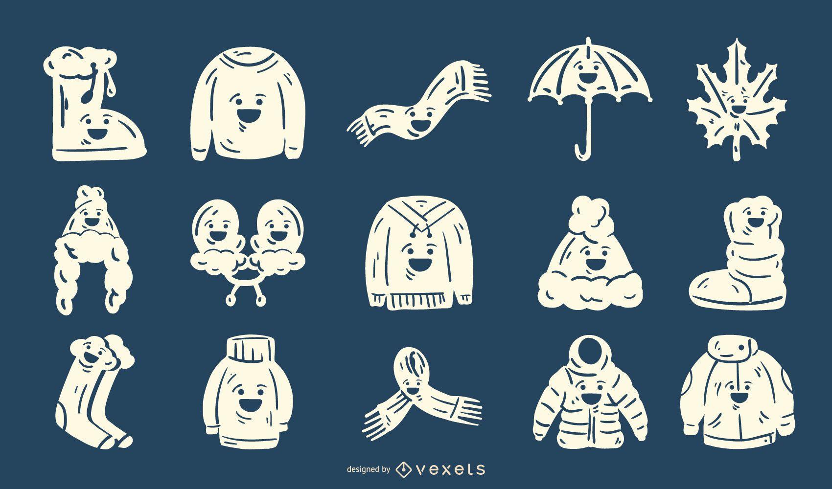 Conjunto de silueta linda ropa de invierno