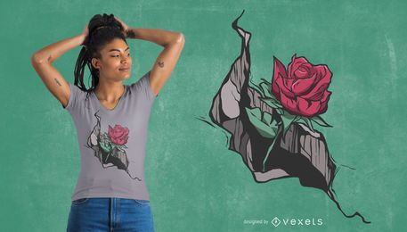 Crack rose design de t-shirt