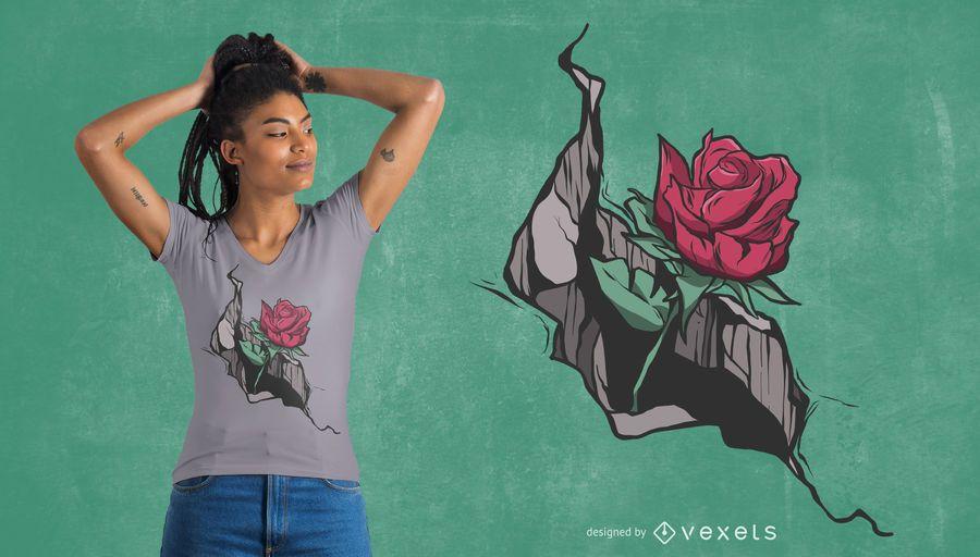 Crack rose t-shirt design
