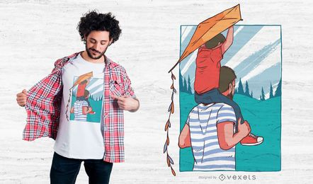 Diseño de camiseta piggyback padre hijo.