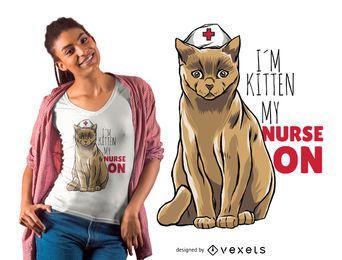 Diseño de camiseta de gato enfermera