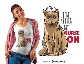 Diseño de camiseta gato enfermera