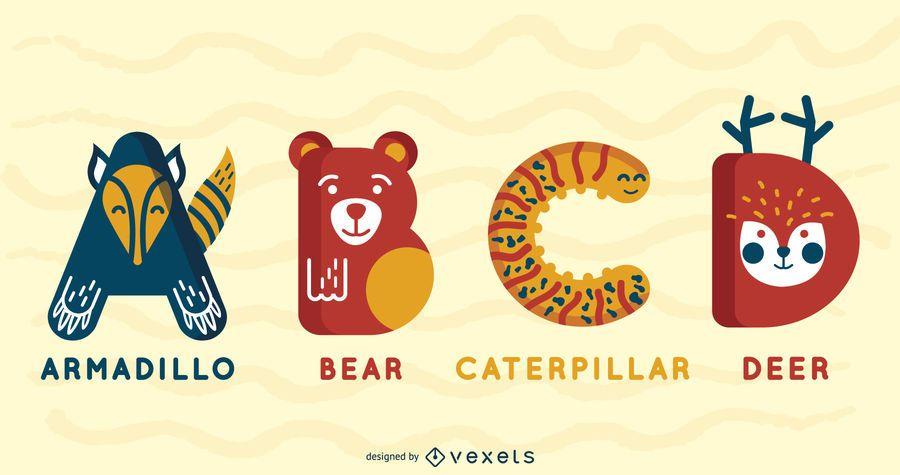 Pacote ilustrado de alfabeto animal ABCD