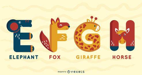 Pacote ilustrado de alfabeto animal EFGH