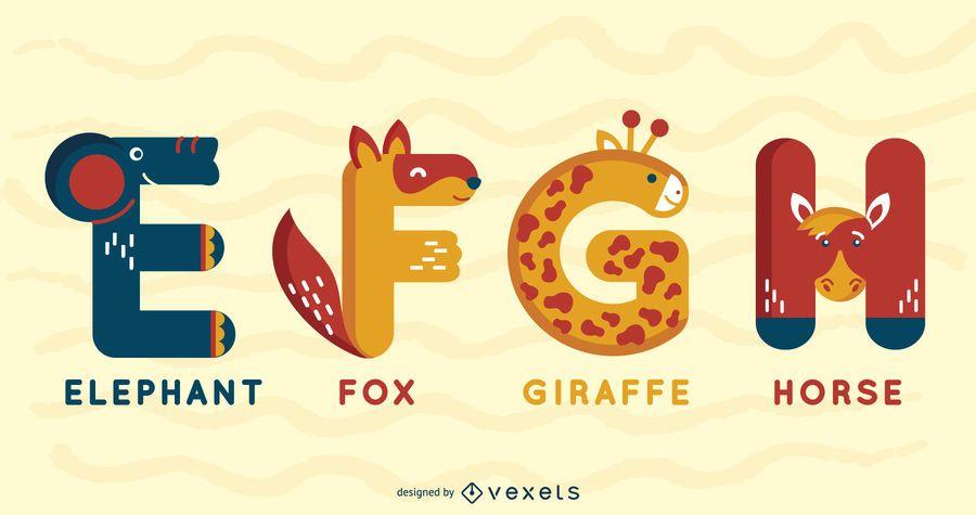 Animal Alphabet Illustrated Pack E F G H