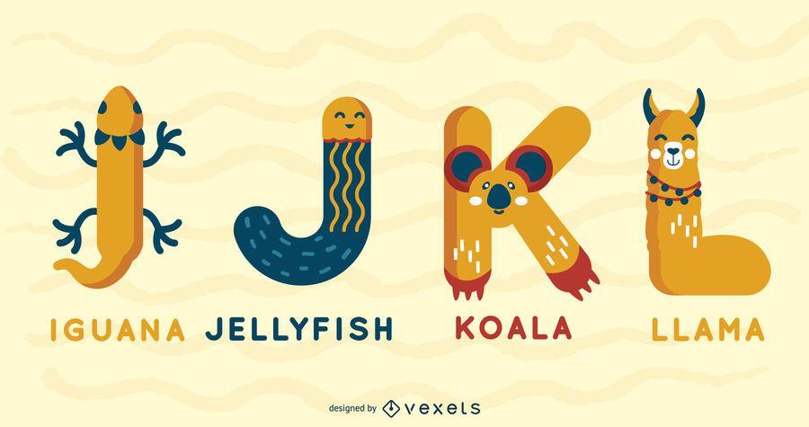 Pacote ilustrado de alfabeto animal IJKL