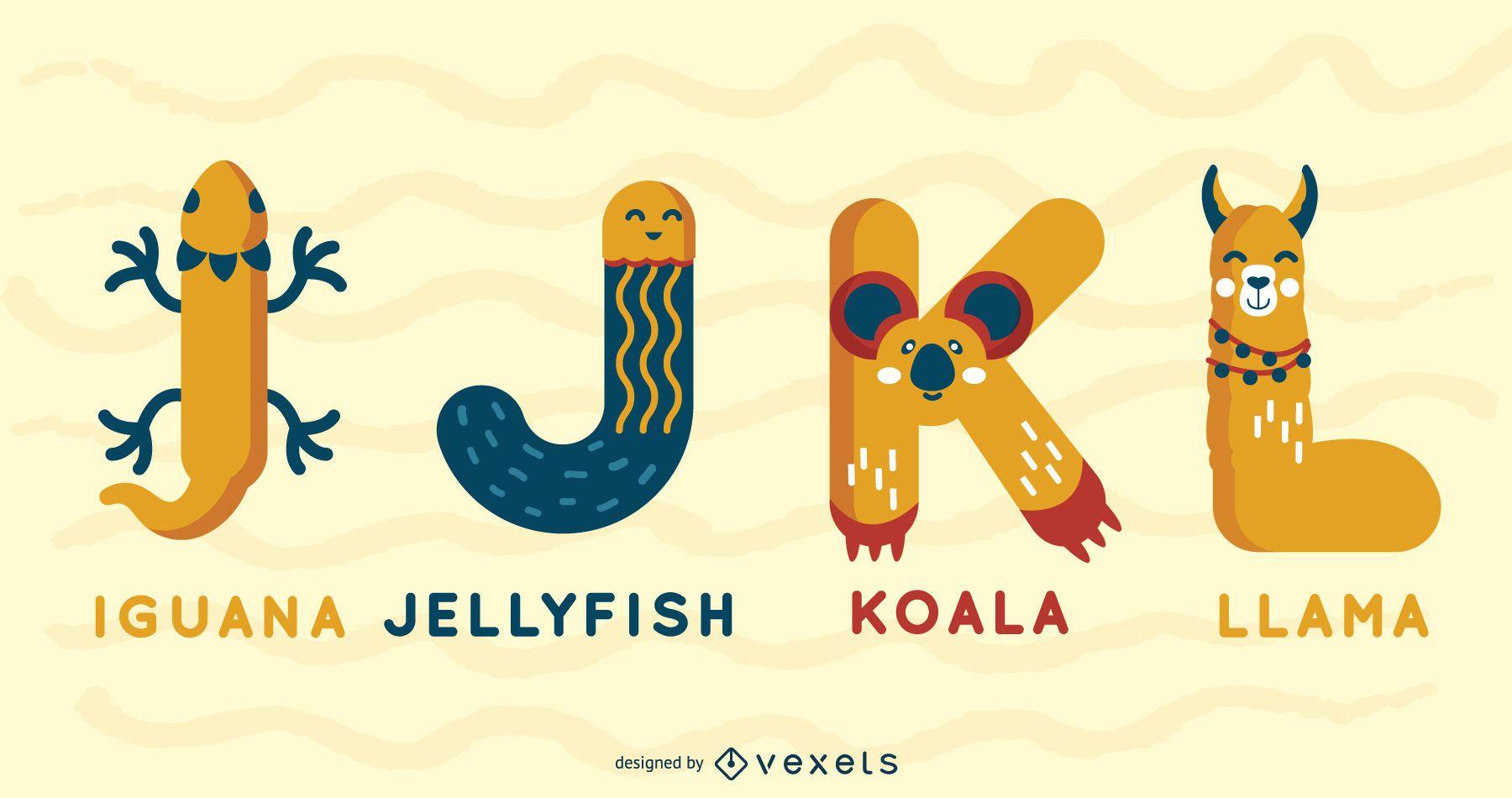 Paquete ilustrado de alfabeto animal IJKL