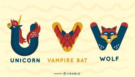 Projeto de ilustração de alfabeto animal