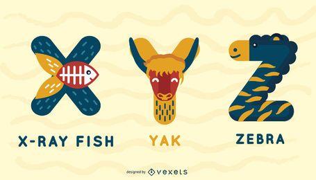XYZ Animal Alfabeto Ilustração Design