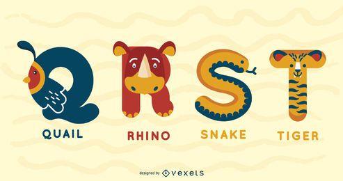 Diseño de ilustración de alfabeto animal QRST