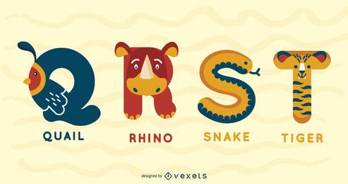 QRST Animal Alphabet Illustration Design