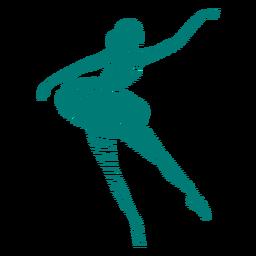 Gestreifte Silhouette des Ballerinaballetttänzer-Haltungsrocks