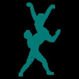 Gestreifte Silhouette der Ballerinaballett-Tänzertrikot pointe Schuhlage