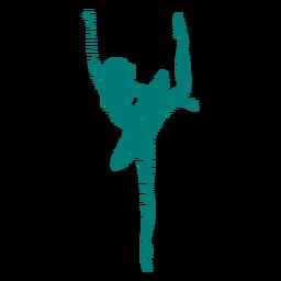 Gestreifte Silhouette der Ballerinarock-Balletttänzer-Haltung