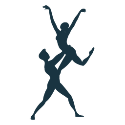 Silhueta de postura de bailarina de bailarino
